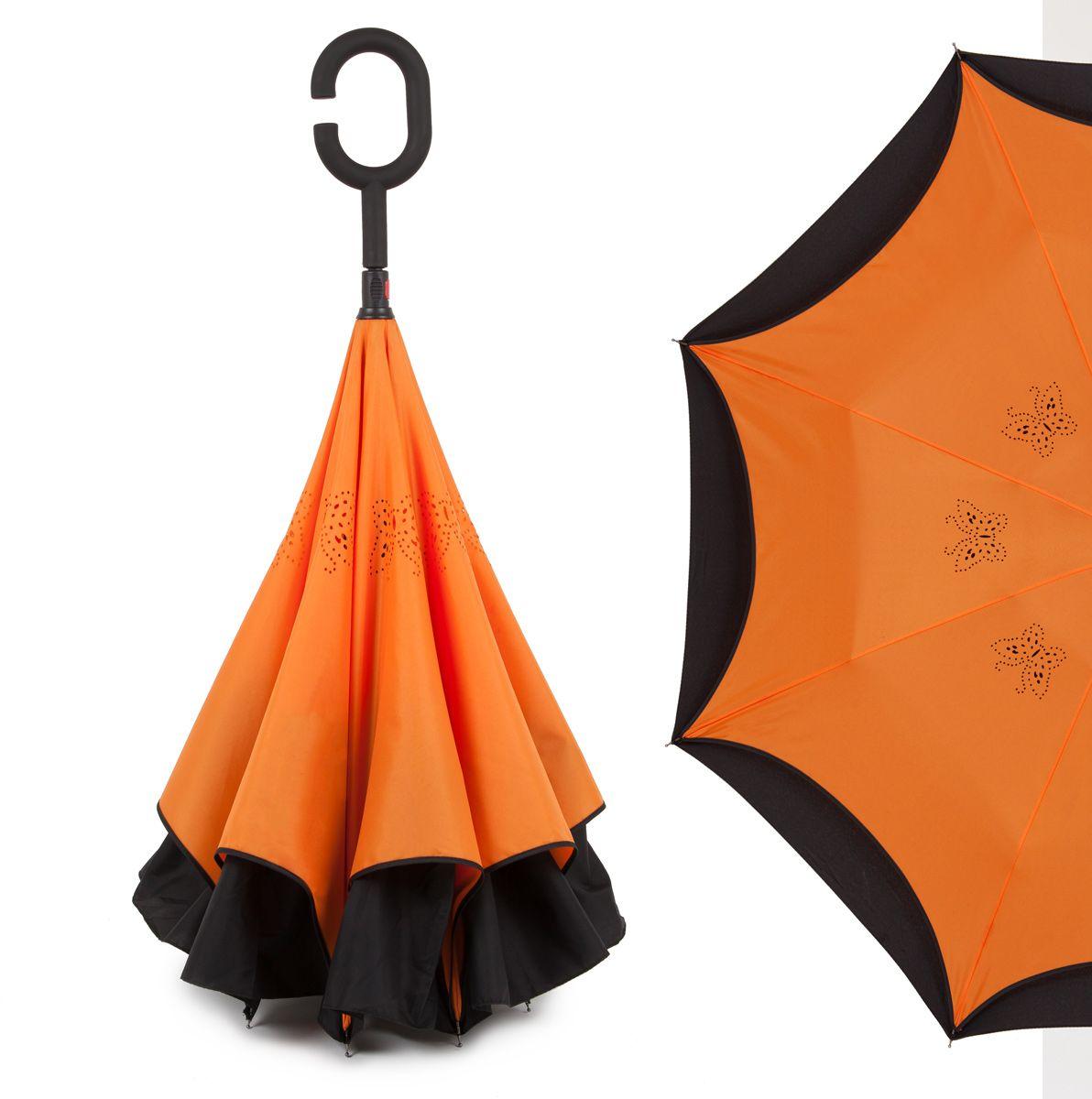 Зонт-трость женский Flioraj, механика, цвет: оранжевый. 120001 FJ45100032/35449/3537AОригинальный зонт-трость Flioraj надежно защитит вас от дождя. Зонт складывается внутренней (сухой) стороной наружу, избавляя владельца от контакта с мокрой поверхностью. Приходя в незнакомое место у Вас не будет неловкого момента от того, что некуда убрать мокрый зонт - Вы сможете спокойно высушить его позже, закончив свои дела. Зонт Miracle очень удобен для автомобилистов: садясь в машину, Вы аккуратно закрываете зонт, не уронив ни одной капли воды в салоне.Удобная ручка с гипоаллергенным покрытием Soft-Touch позволяет высвободить обе руки - Вы спокойно можете пользоваться телефоном, а зонт будет надежно держаться на Вашем запястье, защищая от капризов природы. Яркая расцветка и рисунок по внутренней части зонта поднимут Вам настроение! С таким зонтом больше ничто не испортит Ваших планов!