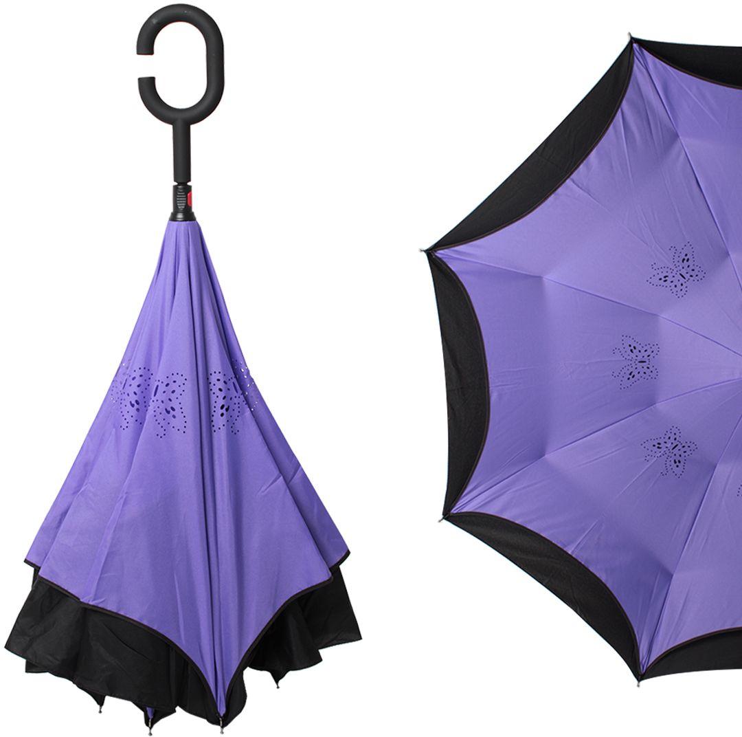 Зонт-трость женский Flioraj, механика, цвет: фиолетовый. 120005 FJ45100095/32793/3500NОригинальный зонт-трость Flioraj надежно защитит вас от дождя. Зонт складывается внутренней (сухой) стороной наружу, избавляя владельца от контакта с мокрой поверхностью. Приходя в незнакомое место у Вас не будет неловкого момента от того, что некуда убрать мокрый зонт - Вы сможете спокойно высушить его позже, закончив свои дела. Зонт Miracle очень удобен для автомобилистов: садясь в машину, Вы аккуратно закрываете зонт, не уронив ни одной капли воды в салоне.Удобная ручка с гипоаллергенным покрытием Soft-Touch позволяет высвободить обе руки - Вы спокойно можете пользоваться телефоном, а зонт будет надежно держаться на Вашем запястье, защищая от капризов природы. Яркая расцветка и рисунок по внутренней части зонта поднимут Вам настроение! С таким зонтом больше ничто не испортит Ваших планов!
