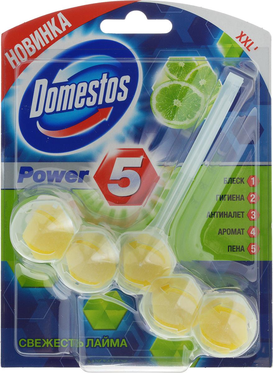 Блок для очищения унитаза Domestos Power 5. Свежесть лайма, 55 г391602Подвесной блок Domestos Power 5. Свежесть лайма предназначен для очищения унитаза. Он обеспечивает чистоту и свежесть до 3 недель. Средство образует обильную пену, предотвращает известковый налёт, борется с неприятными запахами и микробами, обеспечивает длительный аромат лайма. Для достижения максимального эффекта поместите продукт в место наиболее сильного потока воды при смыве.Туалетный блок для унитаза Domestos Power 5 - это сила пяти компонентов. Товар сертифицирован.