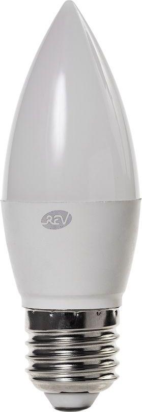 Лампа светодиодная REV, холодный свет, цоколь E27, 7W. 32348 8LED5wCNE1430Энергосберегающая светодиодная лампа REV используется как в бытовых осветительных приборах, так и для освещения общественных и служебных помещений. Потребляемая мощность энергосберегающих ламп в 5-10 раз ниже, чем у обычных ламп накаливания при той же интенсивности свечения. Энергосберегающая светодиодная лампа в форме свечи холодного свечения. Интенсивность свечения аналогична обычной лампе накаливания мощностью 60 Вт. Срок службы 30 000 часов. Номинальное напряжение 220-240 В.