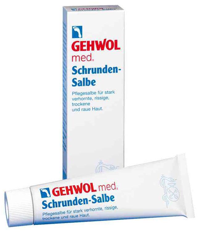 Gehwol Med Salve for cracked skin - Мазь от трещин на ногах 75 мл72523WDМазь для ухода за сильно загрубевшей, растрескавшейся, сухой и поврежденной кожей. Геволь мед (Gehwol med) мазь от трещин (Salve for cracked skin) содержит в качестве основы специальное медицинское мыло и специально отобранную смягчающую и обладающую смягчающим эффектом комбинацию натуральных эфирных масел, витамина пантенол, ухаживающего за состоянием кожи, и противовоспалительное вещество бисаболол, получаемое из ромашки.При регулярном применении кожа приобретает естественную эластичность, стабильность и хорошо защищена. Особенно хорошо действует при шелушении кожи, покраснениях и сопутствующих неприятных осложнениях.Проверено по дерматологическим показателям. Благоприятно применение при заболевании диабетом.Активные компоненты: вазелин, ланолин, розмариновое масло, эвкалиптовое масло, лавандовое масло, лимонное масло, тимьяновое масло, бисаболол, ментол, камфара, пантенол, оксид цинка, вода.