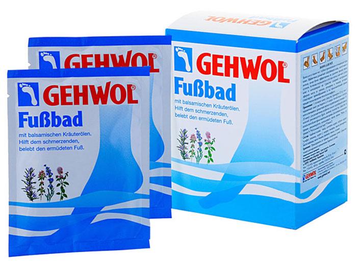 Gehwol Foot Bath - Ванна для ног 10*20 грFS-00897Ванна для ног Геволь (Gehwol Foot Bath) с бальзамирующим эффектом масел из трав снимает боль, оживляет уставшие ноги. Ванна для ног Геволь поможет Вам, если Ваши ноги болят. Поможет также и вспотевшим ногам.Средство оживляет уставшие ноги и устраняет надоедливое ощущение жжения. Мозоли, ороговелости и загрубевшие участки кожи становятся мягкими. Поры кожи снова начинают дышать, она надолго останется упругой и эластичной.Ванна для ног Геволь обладает длительным дезодорирующим эффектом. Натуральные эфирные масла лаванды, розмарина и тимьяна способствуют улучшению кровообращения. Ноги согреваются и оживают.Назначение:Эффективно размягчает загрубевшую кожу, натоптыши и мозоли.Стимулирует кровообращение и придает ногам ощущение теплоты.Обладает дезодорирующим действием и нормализует потоотделение.Активные компоненты: масло розмарина, лавандовое масло, масло тимьяна, тимол, каприл глицерид, сульфат натрия, карбонат натрия, вода.Применение: Одну столовую ложку растворить в 4 литрах теплой воды и купать в пенящейся ванне ноги в течение 15-20 минут. Для размягчения особенно сильных областей загрубелостей кожи и мозолей рекомендуется брать двойное количество средства и купать ноги до 30 минут.В качестве дополнительных средств ухода можно использовать дезодорант, крем или бальзам по типу кожи от Геволь (Gehwol).