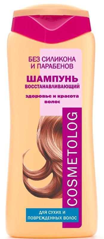 Cosmetolog Шампунь Восстанавливающий для сухих и поврежденных волос, 250 мл70680Специально разработанная формула шампуня предназначена для сухих, поврежденных и пористых волос. Активные компоненты восстанавливают баланс влажности и поверхностную структуру волос. Витамины Е и F (масло рыжика), обладающие высокими антиоксидантными свойствами, защищают волосы и укрепляют их структуру. Провитамин B5 (пантенол) компенсирует дефицит влаги в стержне и луковице волоса. Специальный кондиционирующий агент превосходно адсорбируется по всей длине волоса от корней до кончиков, запечатывая питательные вещества, витамины и влагу внутри волосяного стержня. Хитозан предотвращает накопление электростатического заряда на волосах, делая их послушными. Регулярное использование шампуня делает волосы гладкими, шелковистыми и эластичными, предупреждает их ломкость. Волосы не спутываются, защищены от повреждения во время расчесывания, легко поддаются укладке.