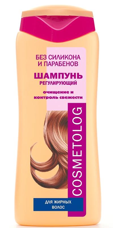 Cosmetolog Шампунь Регулирующий для жирных волос, 250 млFS-54100Деликатный шампунь для волос, которые быстро становятся жирными. Сильный, но неагрессивный комплекс моющих компонентов бережно промывает кожу головы и волосы откончиков до самых корней, не повреждая и не пересушивая их. Шампунь устраняет сальность и жирный блеск волос, способствует уменьшению перхоти, улучшает структуру волос. Кондиционирующий агент придает волосам пышность, облегчает расчесывание волос и укладку. Биорастворимая сера оказывает себорегулирующее действие. Молочная кислота мягко отшелушивает отмершие клетки, регенерирует и очищает кожу головы, нормализует эпителизацию в протоках сальных желез и в устьях волосяных фолликулов, снижает скорость засаливания волос. Волосы становятся ухоженными,хорошо сохраняют эффект чистой головы, укладка дольше держит форму.