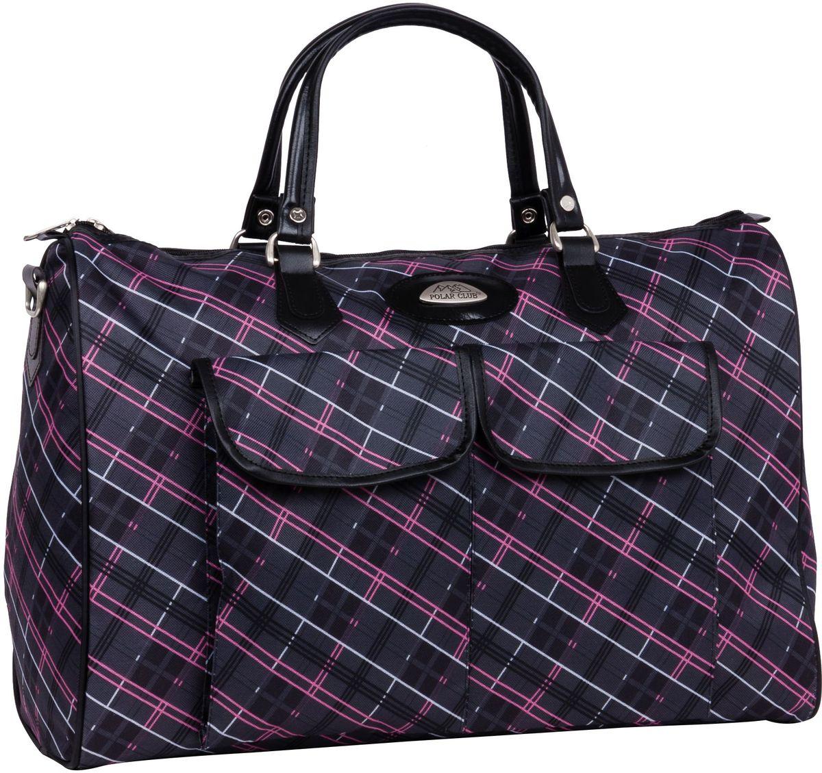 Сумка дорожная Polar Инесса, цвет: темно-серый, розовый, 35 л. 8095-4384MABLSEH10001Вместительная недорогая дорожная сумка Polar Инесса выполнена из полиэстера с водоотталкивающей пропиткой. Внутри дополнительный карман для документов. Снаружи - два кармана (на внешней и внутренней стороне сумки) для мелких предметов. Ручки выполнены из высокопрочного кожзаменителя. В комплект входит съемный плечевой ремень.