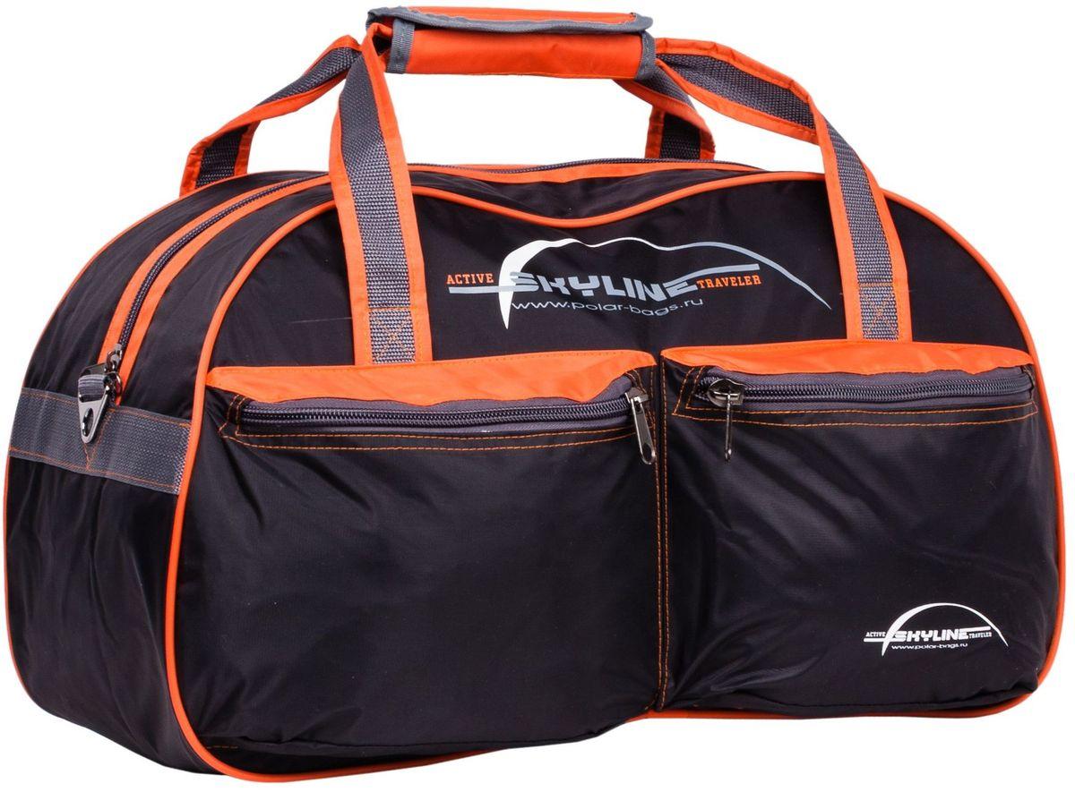 Сумка спортивная Polar Скайлайн, цвет: черный, оранжевый, серый, 53 л. П05/6П05/6Спортивная сумка Polar Скайлайн выполнена из нейлона с водоотталкивающей пропиткой.Сумка имеет одно большое отделение для вещей. На лицевой стороне расположены карманы на молнии. Изделие оснащено двумя удобными текстильными ручками и съемным плечевым ремнем.