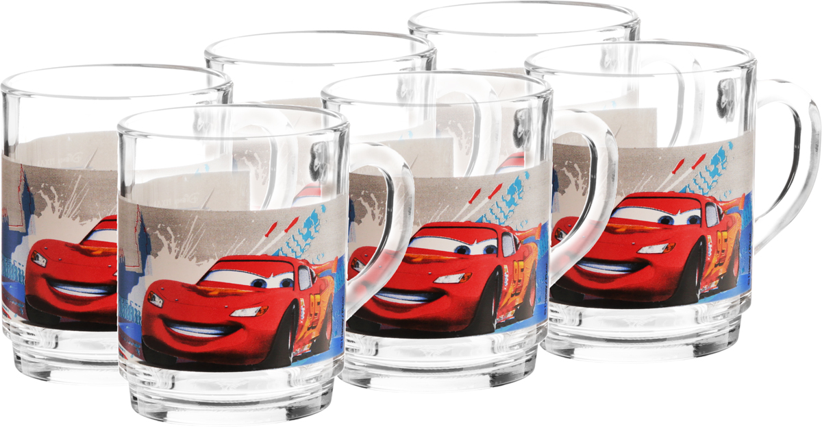Набор кружек Luminarc Disney Cars 2, 250 мл, 6 шт115510Набор Luminarc Disney Cars 2 состоит из 6 кружек, выполненных из стекла. Изделия декорированы изображением Молнии МакКуин. Такой набор станет не только приятным, но и практичным сувениром: кружки будут незаменимым атрибутом чаепития, а оригинальное оформление добавит ярких эмоций и хорошего настроения.Диаметр кружки (по верхнему краю): 7 см.Высота кружки: 9 см.