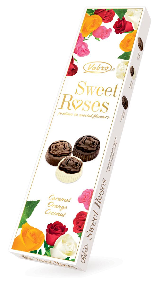 Vobro Sweet Roses Сладкие розы набор шоколадных конфет, 206 г0120710Vobro Sweet Roses – это превосходное пралине, верх которого украшен шоколадной розой. Пралине начинено исключительно вкусными кремами со вкусом апельсина, карамели и кокосом. Вместе с дуновением зимы упаковка приобрела новое художественное оформление. Сочетание современности и классики дает потребителю возможность выбора, а интересная форма подачи является отличной идеей сладкого подарка.