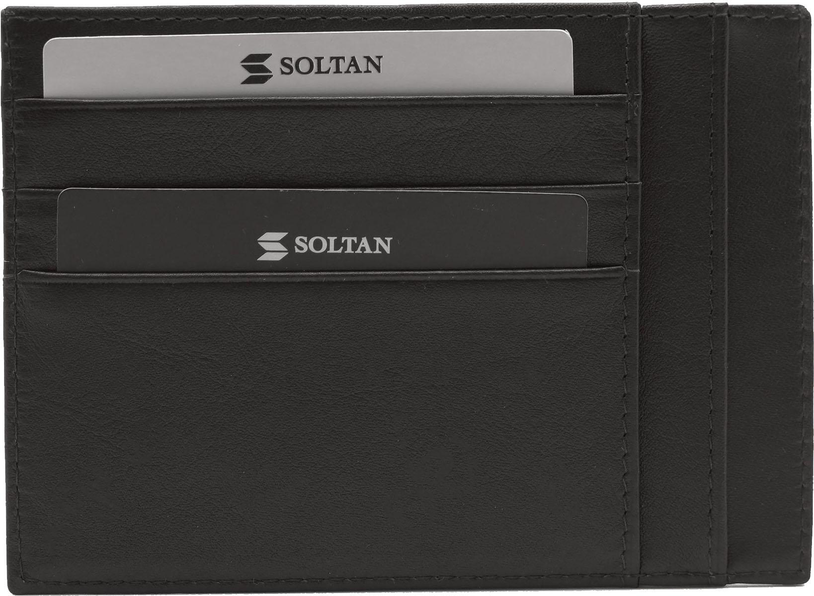 Футляр для кредитных карт Soltan, цвет: темно-коричневый. 061 01 03A52_108Плоский футляр для автодокументов или кредиток Soltan выполнен из натуральной кожи. Модель имеет 6 кармашков для карточек, 5 карманов для документов.