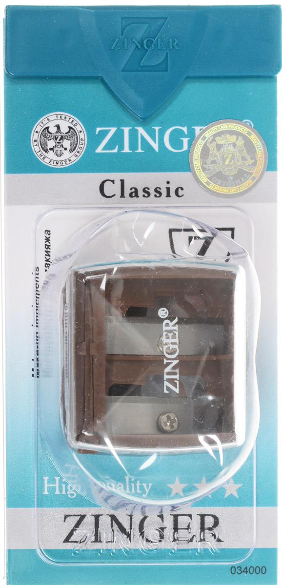 Zinger Точилка двойная, цвет: коричневый. zo-SH-2228032022Точилка подходит для любых видов косметических карандашей. Имеет два диаметра для затачивания. Лезвия изготовлены из высококачественной стали и профессионально заточены.