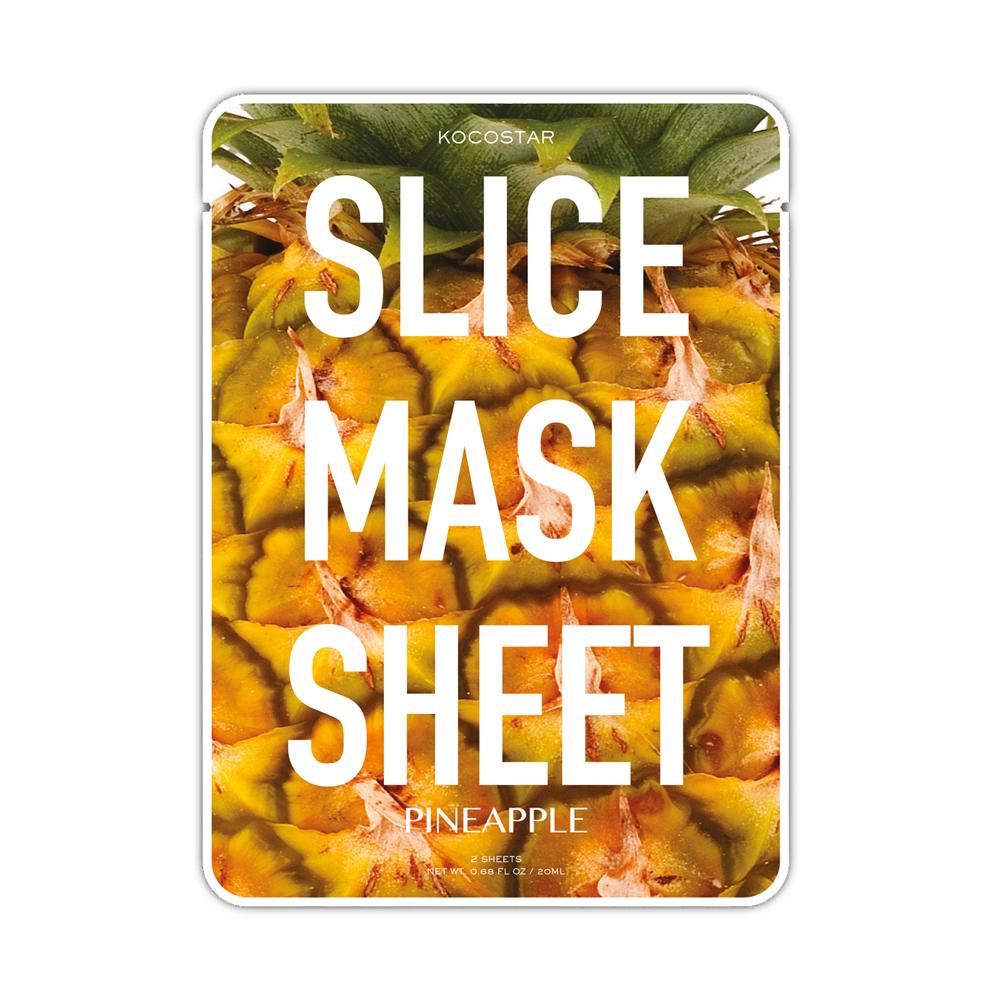 Kocostar Маска-слайс для лица Ананас , 20 мл / Slice Mask Sheet (Pineapple)FS-00897Оригинальная и очень эффективная маска в виде сочных тонких ломтиков ананаса разработана специальная для повышения упругости кожи лица. Средство имеет ярко выраженный лифтинг эффект, активирует обменные процессы, способствуя повышению тонуса кожи.Экстракт ананаса отлично отшелушивает омертвевшие клетки, а входящие в состав антиоксиданты помогают в поддержании молодости кожи лица. Экстракт папайи бореться с несовершенствами кожи, выравнивая ее тон, а экстракт кокоса активно питает ее. Гиалуроновая кислота в составе маски-слайс обеспечивают глубокое увлажнение и активизирует защитные свойства кожи.