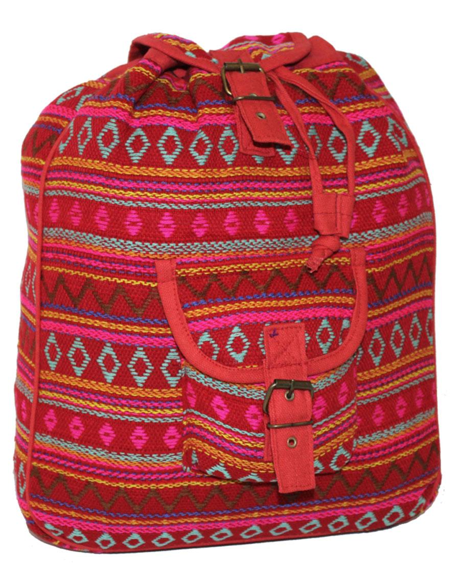 Сумка-рюкзак женская Ethnica, цвет: красный, бирюзовый. 1872503-47670-00504Женская сумка-рюкзак Ethnica изготовлена из качественного текстиля. Сумка имеет одно вместительное отделение и застегивается на металлическую пряжку. Внутри имеется основное отделение.Спереди сумка-рюкзак дополнена накладным карманом с клапаном.Сумка оснащена ручкой для переноски и двумя наплечными ремнями.