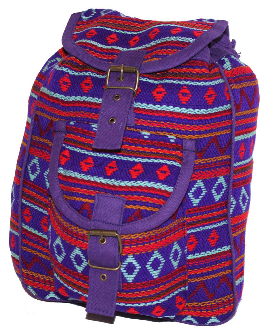 Сумка женская Ethnica, цвет: фиолетовый. 19718023008Женская сумка-рюкзак Ethnica изготовлена из качественного текстиля. Сумка имеет одно вместительное отделение и застегивается на металлическую пряжку. Внутри имеется основное отделение.Спереди сумка-рюкзак дополнена накладным карманом с клапаном.Сумка оснащена ручкой для переноски и двумя наплечными ремнями.