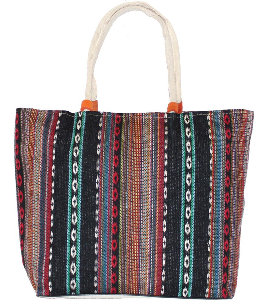 Сумка женская Ethnica, цвет: черный, мультиколор. 205090KV996OPY/MЖенская сумка Ethnica изготовлена из текстиля. Дополнена модель удобными крепкими ручками на запястье. Застегивается изделие на застежку-молнию.