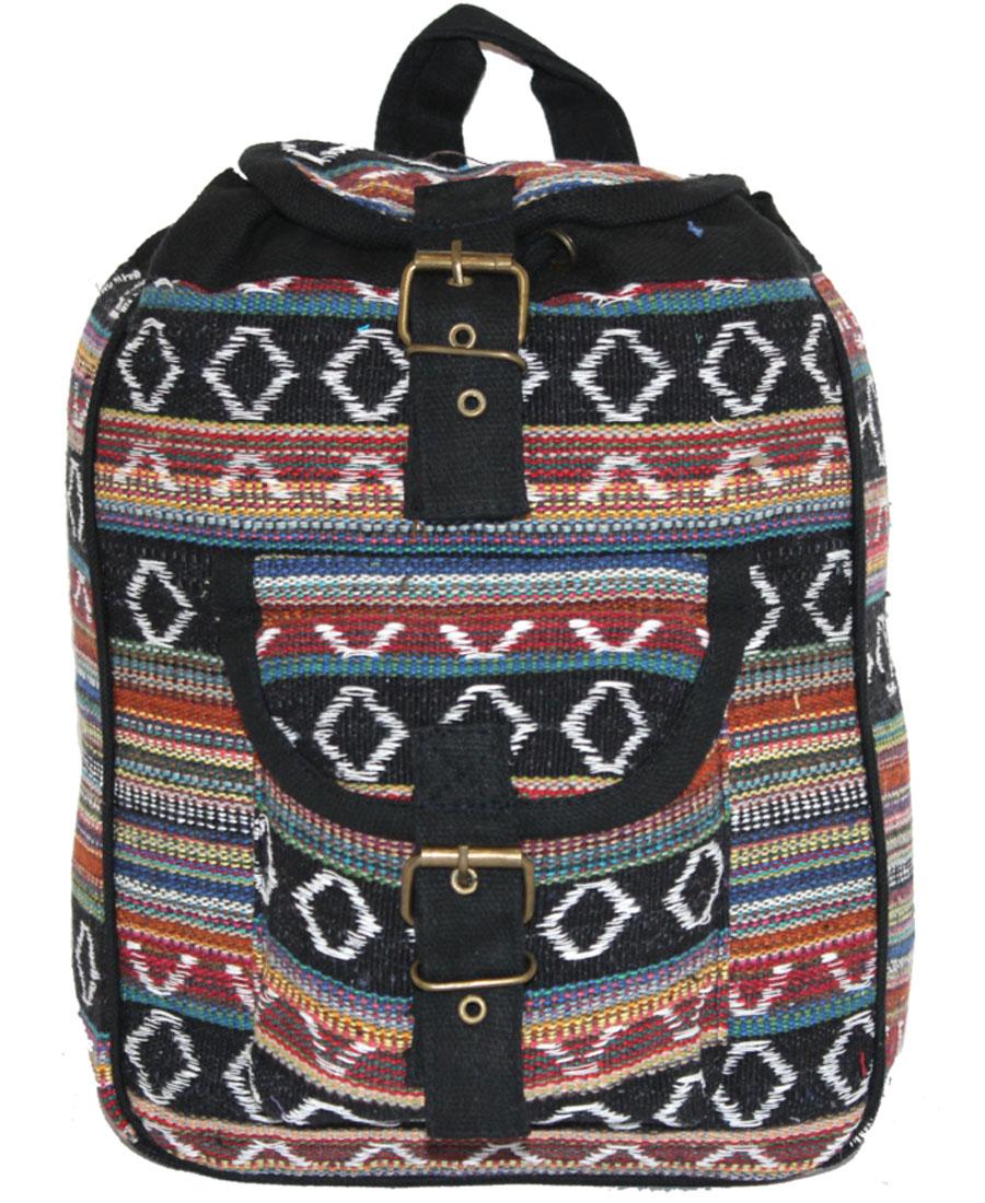 Сумка-рюкзак женская Ethnica, цвет: черный, терракотовый. 197180RivaCase 8460 blackЖенская сумка-рюкзак Ethnica изготовлена из качественного текстиля. Сумка имеет одно вместительное отделение и застегивается на металлическую пряжку. Внутри имеется основное отделение.Спереди сумка-рюкзак дополнена накладным карманом с клапаном.Сумка оснащена ручкой для переноски и двумя наплечными ремнями.