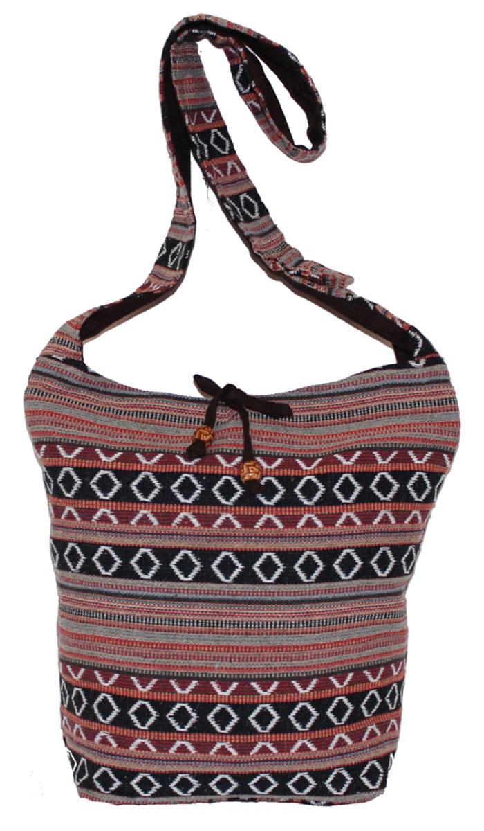 Сумка женская Ethnica, цвет: черный, терракотовый. 206165101225Женская сумка Ethnica изготовлена из текстиля. Дополнена модель широкой удобной лямкой и украшена тонкой вышивкой. Застегивается изделие на застежку-молнию.