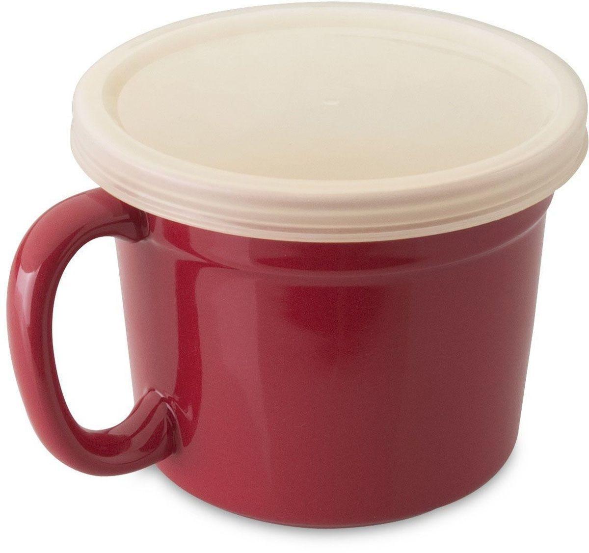 Набор чашек BergHOFF Geminis, с крышкой, 0,5 л, 2 шт. 169507561114Набор чашек BergHOFF Geminis - эти чашки имеют современный обтекаемый дизайн, бордовую расцветку и станут яркой изюминкой на вашей кухне.