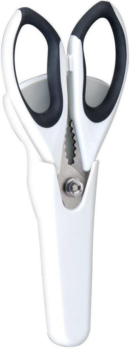 Ножницы кухонные BergHOFF, в чехле с магнитным держателем, цвет: черный, белый, длина лезвия 10 см2003039Ножницы BergHOFF выполнены из нержавеющей стали. Ручки изготовлены из полипропилена с вставками из термопластичной резины, что обеспечивает безопасность и удобство работы. Ножницы - необходимая вещь на вашей кухне. Измельчить зелень для салата, разделать тушку курицы или утки, вскрыть пакет с молоком, срезать плавники у рыбы - все это намного проще и быстрее сделать не ножом, а ножницами. В комплекте - специальный пластиковый чехол с магнитным держателем, которую можно разместить на холодильнике, что обеспечивает удобное хранение и безопасность. Рекомендуется мыть вручную.Длина ножниц: 24 см. Длина лезвия: 10 см. Размер чехла: 18,5 см х 9 см х 2 см.