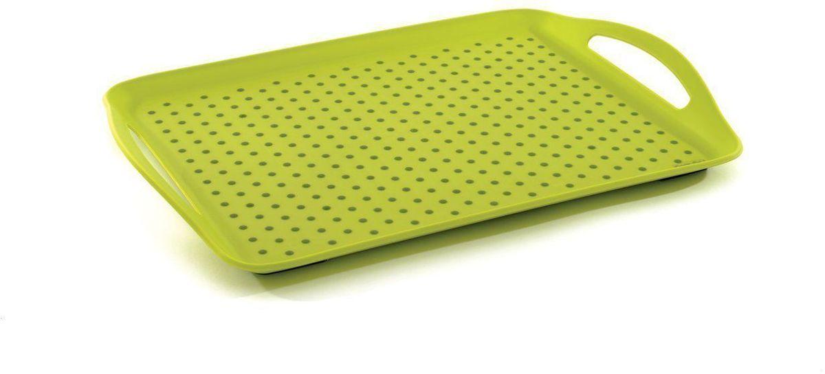 Поднос BergHOFF CooknCo, нескользящий, 45 х 32 см54 009312Сервировочный поднос BergHOFF CooknCo выполнен из полипропилена и термопластического полимера, который позволяет предметам надежно удерживаться на подносе. Дно подноса также отделано полимером. Поднос снабжен двумя ручками и небольшими бортиками. Поднос пригодится в любом хозяйстве. Рекомендуется мыть вручную. Не использовать в СВЧ.