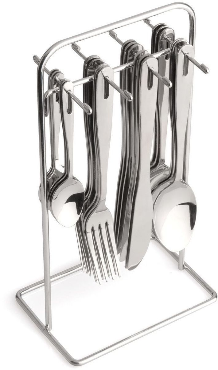 Набор столовых приборов BergHOFF Dune, цвет: металлик, 24 предметаVT-1520(SR)Набор столовых приборов BergHOFF Dune выполнен из высококачественной нержавеющей стали. В набор входит 24 предмета: 6 обеденных ножей, 6 обеденных ложек, 6 обеденных вилок, 6 чайных ложек и подставка. Приборы имеют удобные ручки с отверстием для подвешивания на подставку. Прекрасное сочетание свежего дизайна и удобство использования предметов набора придется по душе каждому. Предметы набора расположены на подставке из стали, подставка оснащена удобной ручкой для переноски.Набор столовых приборов BergHOFF Dune подойдет для сервировки стола, как дома, так и на даче и всегда будет важной частью трапезы, а также станет замечательным подарком.Длина ножей: 20,5 см.Длина ложек: 20 см.Длина вилок: 20 см.Длина чайных ложек: 13 см.Размер подставки: 13 см х 10 см х 27 см.