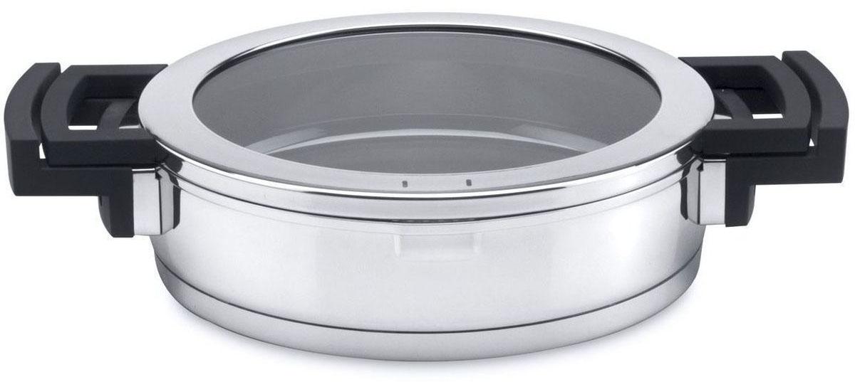 Сотейник BergHOFF Neo с крышкой, 2,4 л54 009305Сотейник BergHOFF Neo, выполненный из нержавеющей стали 18/10, снабжен стеклянной крышкой, которая плотно закрывает сотейник, удерживая естественную влагу и соки ингредиентов внутри. Также ее можно использовать в качестве подставки, чтобы безопасно разместить кастрюлю на столе. При повороте крышки открывается сливное отверстие, а совмещенные не нагревающиеся пластиковые ручки крышки и корпуса делают слив удобным и безопасным. Конструкция дна позволяет равномерно распределять тепло по всей поверхности. Сотейник имеет внутреннюю шкалу объема.Диаметр сотейника: 24 см.Объем: 2,4 л.