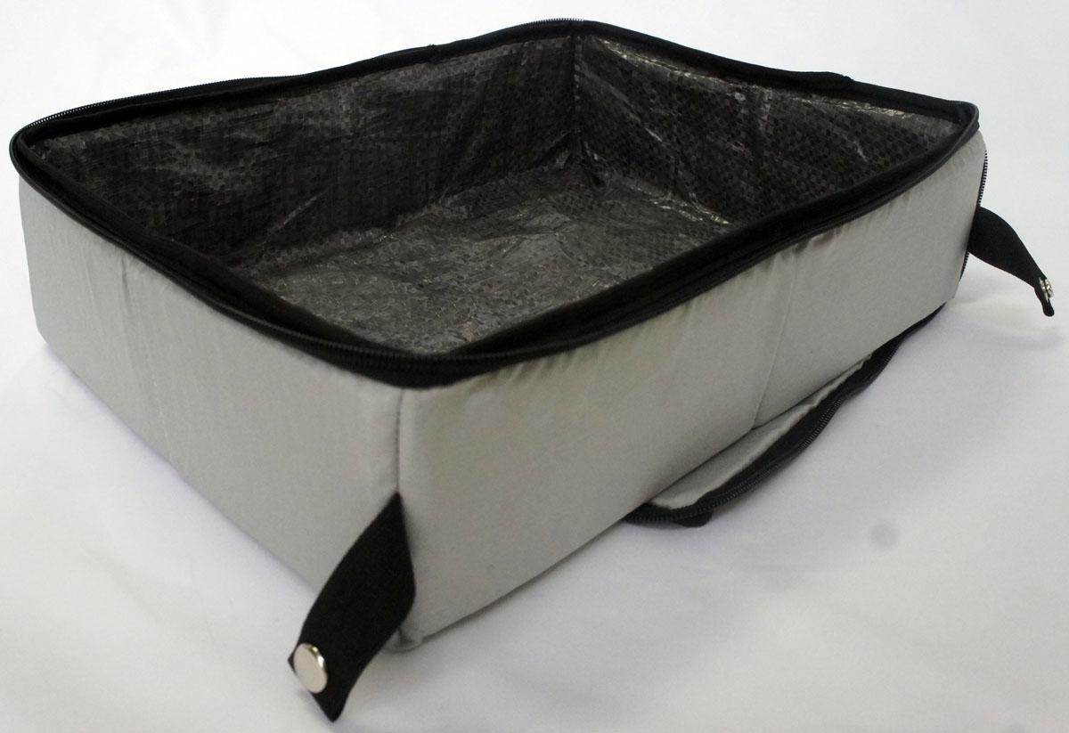 Лоток-туалет Шоу-Петс, дорожный, складной, цвет: хаки, 40 х 50 х 11 см. ЛДСХ3ЛДСХ3Дорожный складной лоток Шоу-Петс имеет крышку, которая по периметру застегивается на молнию и полностью исключает выпадение крошек наполнителя, а так же изолирует запах. Такой дорожный лоток удобно использовать в транспорте, на выставке, в отеле и на даче, лоток легко стирается в стиральной машине и быстро сохнет.Внутренний материал выполнен из специального ламинированного нейлона, что исключает возможность для животного зацепиться когтем при копании наполнителя в лотке.В сложенном виде лоток фиксируется специальной стропой на кнопку и практически не занимает место.