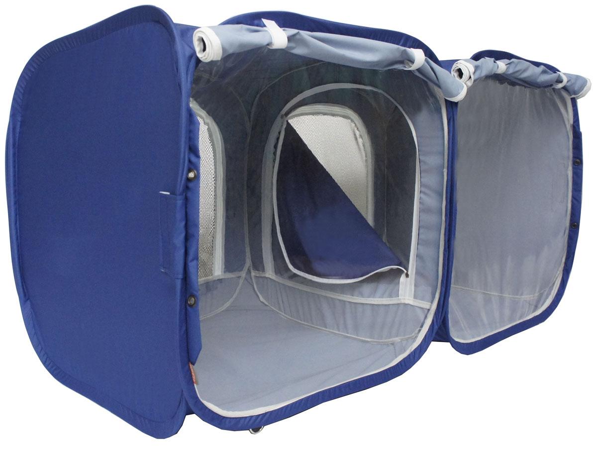 Палатка для выставки животных Шоу-Петс, цвет: синий, 120 х 60 х 60 см. ПВЛ2К0120710Палатка Шоу-Петс разработана профессиональными заводчиками для тех, кто хочет перемещаться и выставляться со своими питомцами легко и комфортно. Двойная выставочная палатка для кошек состоит из двух отдельных секций 60 х 60 х 60 см, между собой разделены сплошной перегородкой из той же ткани, на молнии, с фиксатором бегунка. Палатка-клетка подойдет для 2 разных животных, которые плохо сидят вместе на выставке в одной палатке-клетке. Для животных, которые хорошо сидят вместе, из такой палатки-клетки можно сделать совершенно комфортное выставочное помещение: в одной комнате находятся животные, а во второй - столовая или туалет (в зависимости от потребности), при этом у каждой секции имеется собственная шторка, которой она закрывается от нежелательных взглядов. Палатку-клетку для выставок можно превратить в односекционную, для этого нужно сложить в плоскость одну из секций.Cо стороны заводчика расположен большой удобный вход в палатку на молнии, бегунки молнии фиксируются крепежом, не позволяющим животному самостоятельно открыть вход и выбраться из палатки. Вместительный чехол с большим передним карманом позволяет упаковать с собой на выставку все необходимые принадлежности, такие как лежанки, лотки, кормушки, корм, наполнитель, принадлежности для груминга и аптечку.Выставочная палатка-клетка 2-комнатная так же идеально подойдет в качестве родильного домика, в котором с комфортом может находиться мама кошка с котятами, имея свободное пространство для лотка и еды. Материал палатки очень прочный и устойчивый на разрыв.В комплекте идут ремни для крепления к столу, а так же ими удобно фиксировать палатку в поезде на верхней полке или в машине.