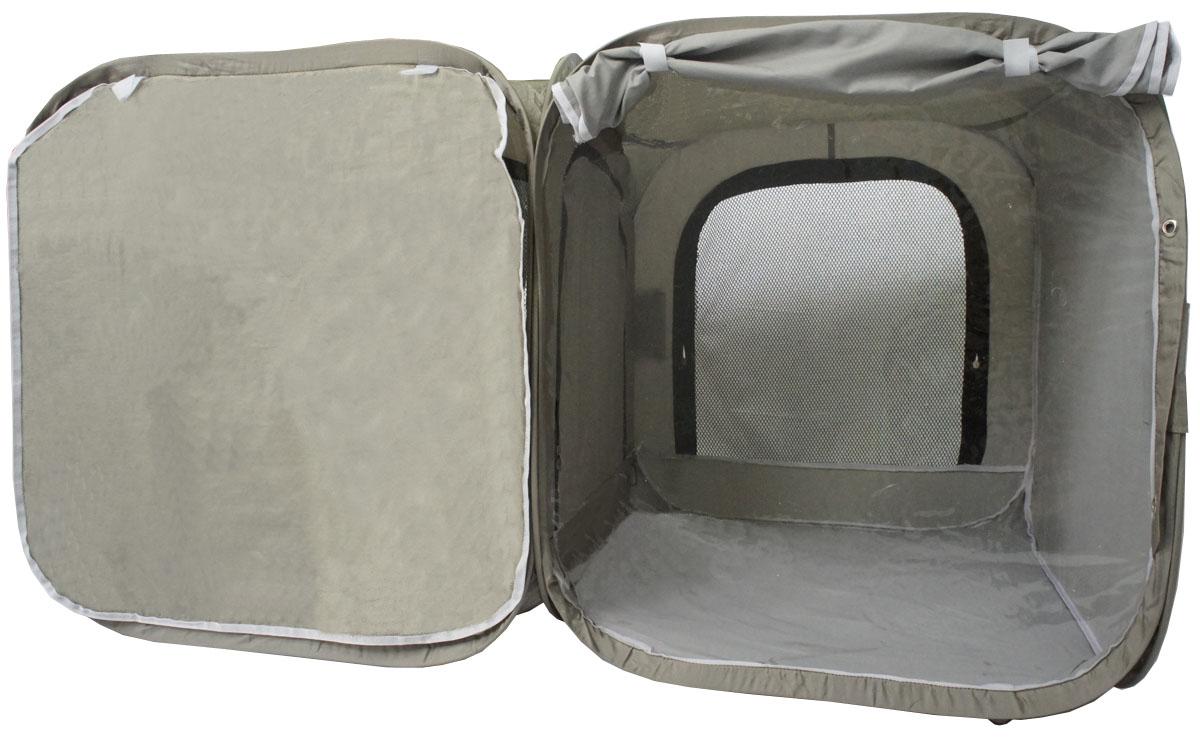 Палатка для выставки животных Шоу-Петс, цвет: хаки, 120 х 60 х 60 см. ПВЛ2Х0120710Палатка Шоу-Петс разработана профессиональными заводчиками для тех, кто хочет перемещаться и выставляться со своими питомцами легко и комфортно. Двойная выставочная палатка для кошек состоит из двух отдельных секций 60 х 60 х 60 см, между собой разделены сплошной перегородкой из той же ткани, на молнии, с фиксатором бегунка. Палатка-клетка подойдет для 2 разных животных, которые плохо сидят вместе на выставке в одной палатке-клетке. Для животных, которые хорошо сидят вместе, из такой палатки-клетки можно сделать совершенно комфортное выставочное помещение: в одной комнате находятся животные, а во второй - столовая или туалет (в зависимости от потребности), при этом у каждой секции имеется собственная шторка, которой она закрывается от нежелательных взглядов. Палатку-клетку для выставок можно превратить в односекционную, для этого нужно сложить в плоскость одну из секций.Cо стороны заводчика расположен большой удобный вход в палатку на молнии, бегунки молнии фиксируются крепежом, не позволяющим животному самостоятельно открыть вход и выбраться из палатки. Вместительный чехол с большим передним карманом позволяет упаковать с собой на выставку все необходимые принадлежности, такие как лежанки, лотки, кормушки, корм, наполнитель, принадлежности для груминга и аптечку.Выставочная палатка-клетка 2-комнатная так же идеально подойдет в качестве родильного домика, в котором с комфортом может находиться мама кошка с котятами, имея свободное пространство для лотка и еды. Материал палатки очень прочный и устойчивый на разрыв.В комплекте предусмотрены ремни для крепления к столу, а так же ими удобно фиксировать палатку в поезде на верхней полке или в машине.