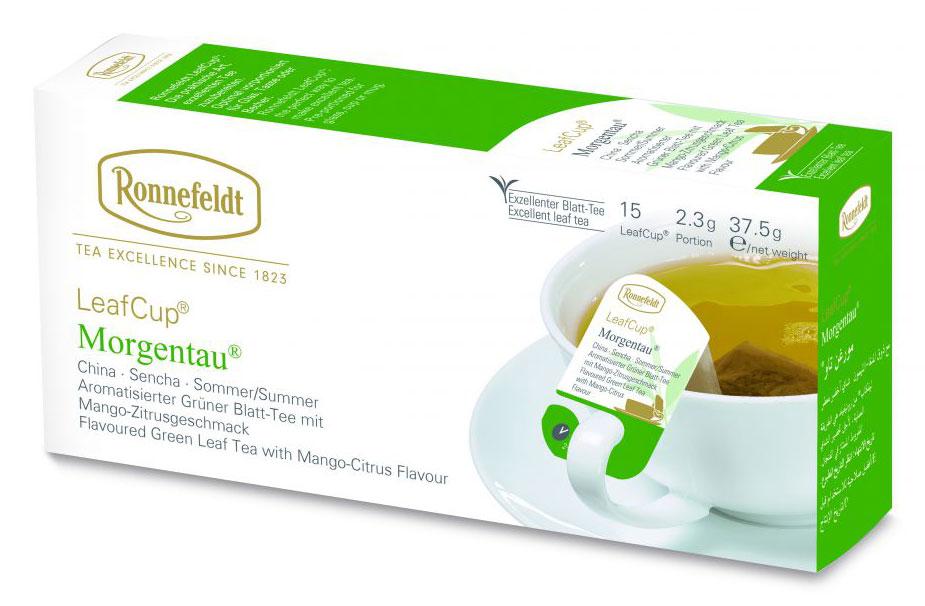 Ronnefeldt Leaf Cup Morgentau зеленый чай в пакетиках, 15 шт13530Тончайший вкус чая Ronnefeldt Leaf Cup Morgentau завораживает композицией из сенчи, цветочных лепестков и нежно-фруктового вкуса манго с цитрусовыми. Сложно найти изъяны в этом изысканном и изящном напитке. Даже если чай просто стоит на столе – неповторимое благоухание наполнит ваш дом.Уважаемые клиенты! Обращаем ваше внимание на то, что упаковка может иметь несколько видов дизайна. Поставка осуществляется в зависимости от наличия на складе.