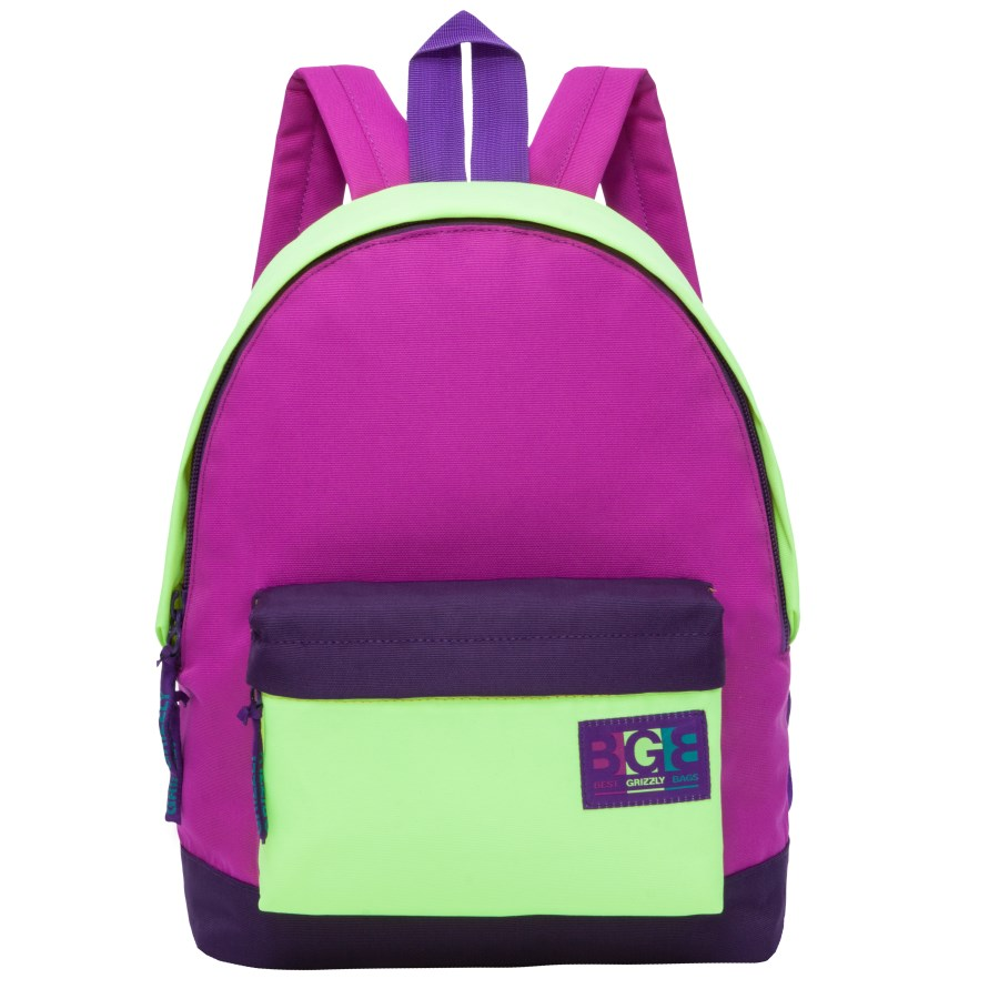 Рюкзак городской женский Grizzly, цвет: фиолетовый, салатовый. RD-750-4/3ГризлиРюкзак городской Grizzl выполнен из высококачественного нейлона в сочетании с полиэстером. Рюкзак имеет ручку-петлю для подвешивания и две удобные лямки, длина которых регулируется с помощью пряжек. Модель имеет одно основное отделение на молнии, с внутренним подвесным карманом. Передняя сторона оформлена объемным карманом на застежке- молнии. Тыльная сторона рюкзака имеет укрепленную спинку.