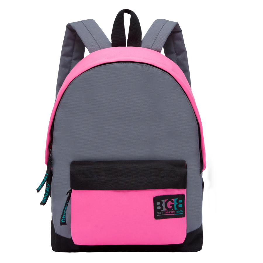 Рюкзак городской женский Grizzly, цвет: темно-серый, розовый. RD-750-4/13607869368547Рюкзак городской Grizzl выполнен из высококачественного нейлона в сочетании с полиэстером. Рюкзак имеет ручку-петлю для подвешивания и две удобные лямки, длина которых регулируется с помощью пряжек. Модель имеет одно основное отделение на молнии, с внутренним подвесным карманом. Передняя сторона оформлена объемным карманом на застежке- молнии. Тыльная сторона рюкзака имеет укрепленную спинку.