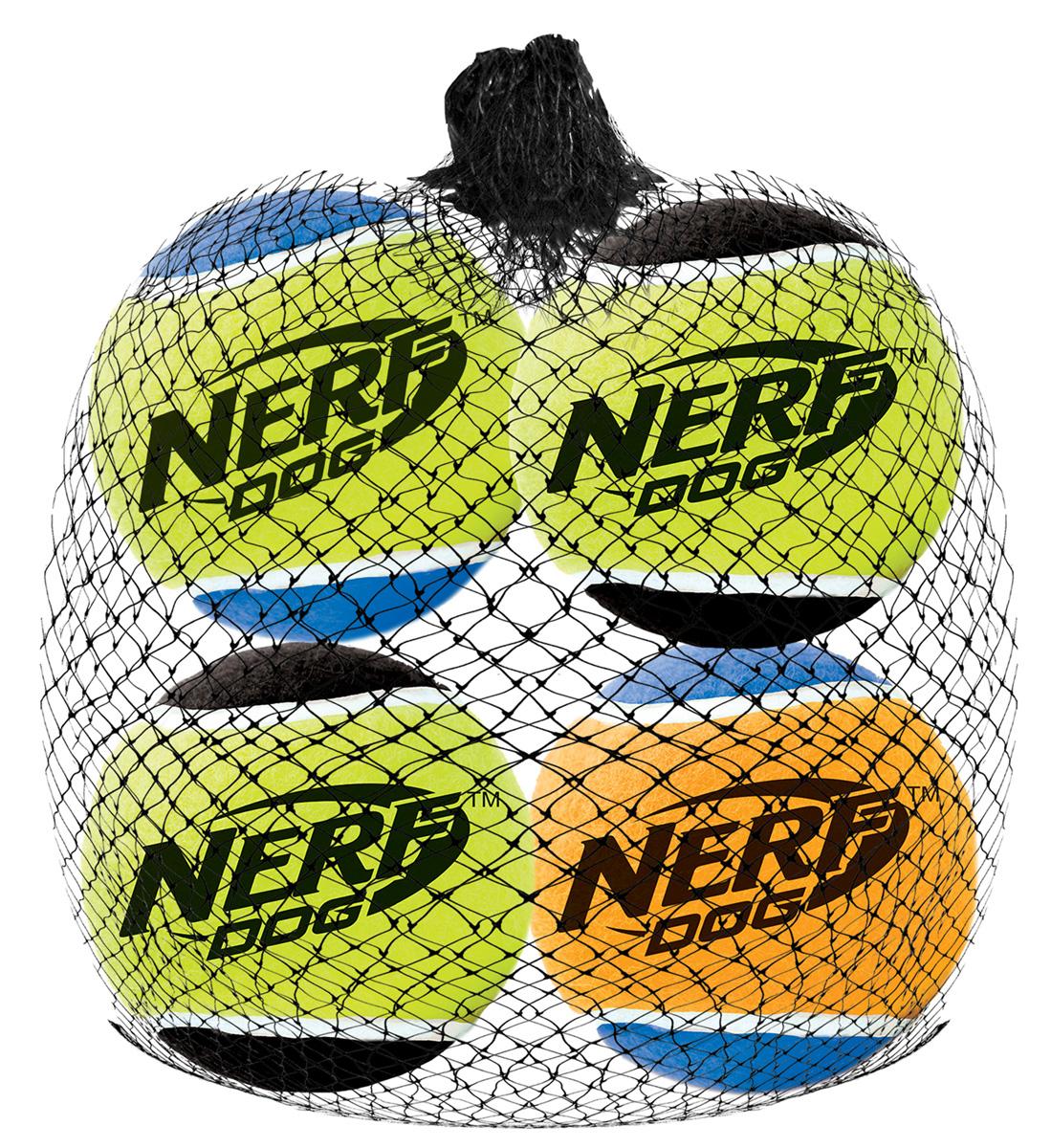 Игрушка для собак Nerf Мяч теннисный, с пищалкой, диаметр 4,5 см, 4 шт0120710Мячи теннисные Nerf выполнены из прочной высококачественной резины. Оснащены пищалкой.Яркие привлекательные цвета.Оптимальный вариант для игры с вашим питомцем.Размер XS: 4,5 см.