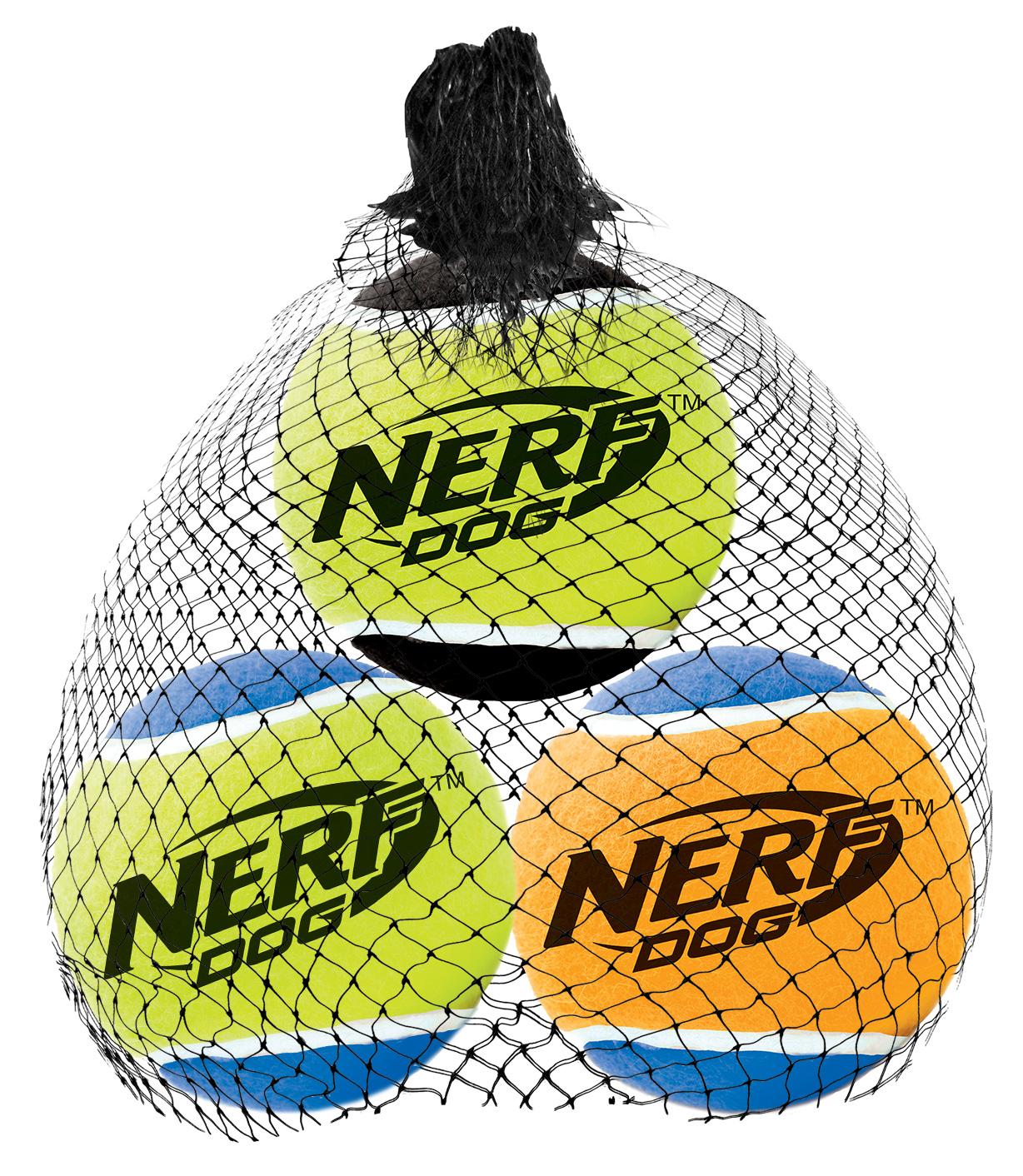 Игрушка для собак Nerf  Мяч теннисный , с пищалкой, диаметр 5 см, 3 шт - Игрушки