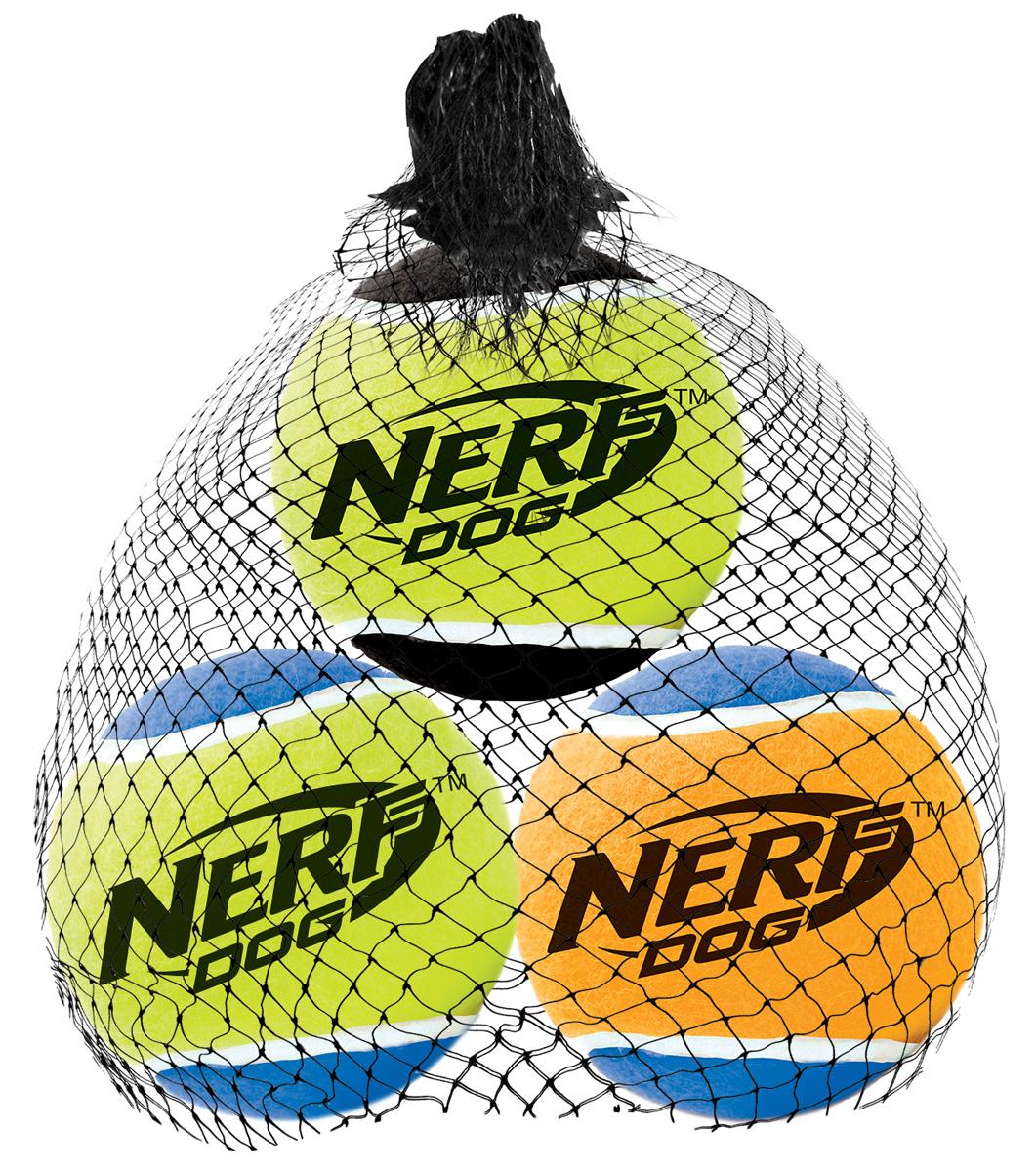 Игрушка для собак Nerf Мяч теннисный, с пищалкой, диаметр 6 см, 3 шт18654Мячи теннисные Nerf выполнены из прочной высококачественной резины.Подходят для бластера NerfDog Tennis Ball Blaster.Мячи оснащены пищалкой.Яркие привлекательные цвета.Оптимальный вариант для игры с вашим питомцем.Размер M: 6 см.