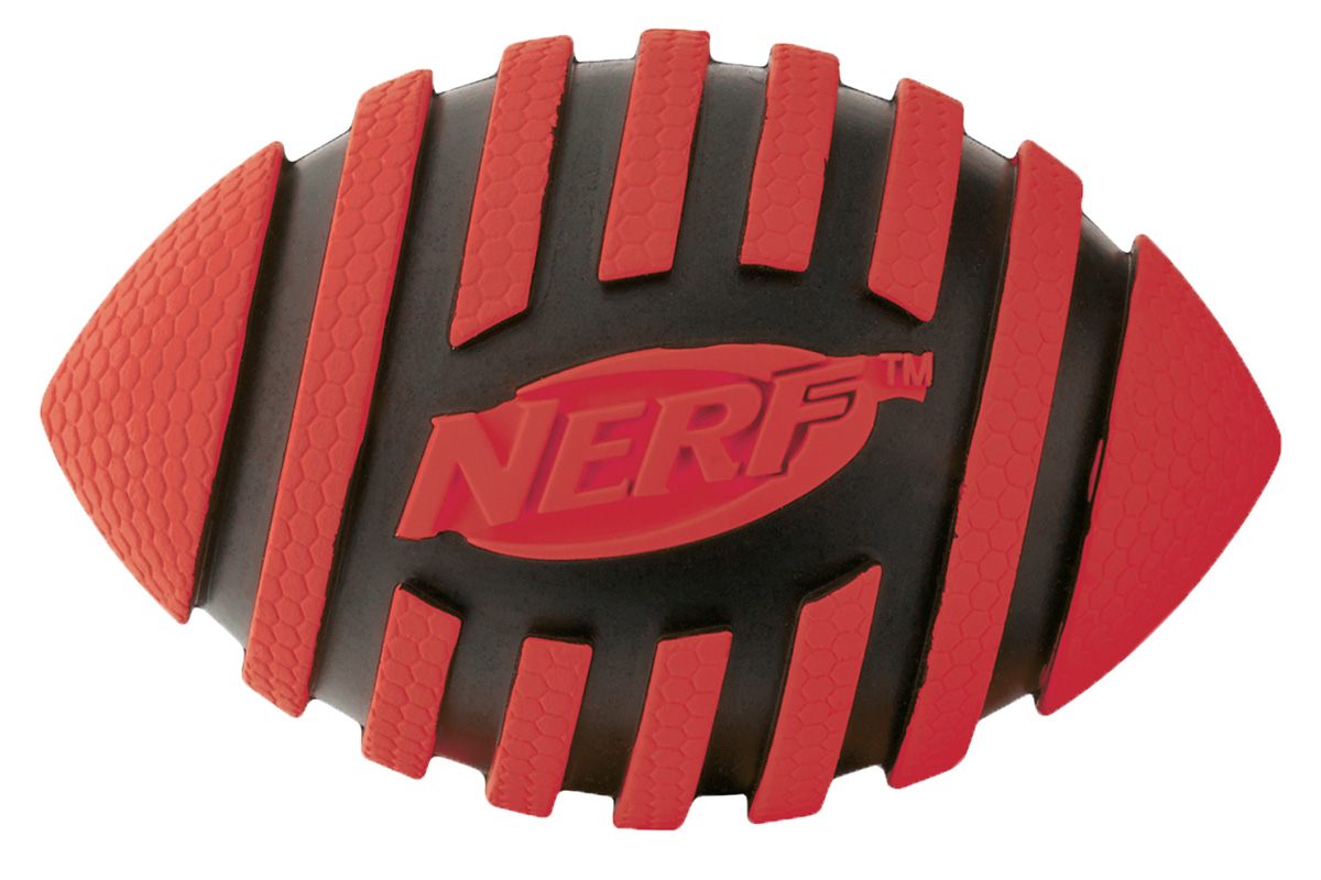 Игрушка для собак Nerf Мяч для регби, с пищалкой, цвет: красный, черный, 12,5 см0120710Мяч-регби Nerf имеет рельефный рисунок.Высококачественные прочные материалы, из которых изготовлена игрушка, обеспечивают долговечность использования.Звук мяча дополнительно увлекает собаку игрой.Яркие привлекательные цвета.Размер М: 12,5 см.