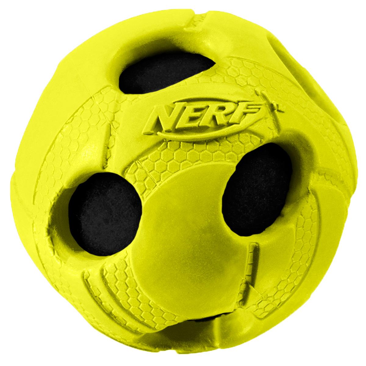 Игрушка для собак Nerf Мяч, с отверстиями, цвет: желтый, 6 см0120710Мяч Nerf из прочной резины с теннисным мячом внутри.Высококачественные прочные материалы, из которых изготовлена игрушка, обеспечивают долговечность использования.Звук мяча дополнительно увлекает собаку игрой.Мяч имеет яркие привлекательные цвета и рельефный рисунок.Размер: 6 см, S.