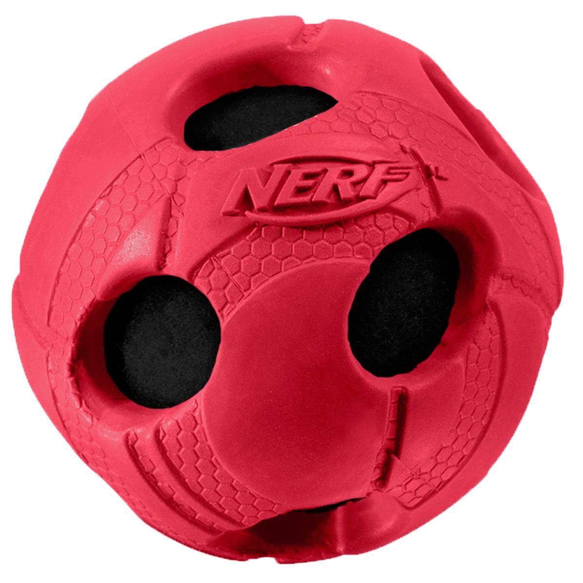 Игрушка для собак Nerf Мяч, с отверстиями, цвет: красный, 9 см0120710Мяч Nerf из прочной резины с теннисным мячом внутри.Высококачественные прочные материалы, из которых изготовлена игрушка, обеспечивают долговечность использования.Звук мяча дополнительно увлекает собаку игрой.Мяч имеет яркие привлекательные цвета и рельефный рисунок.Размер L: 9 см.