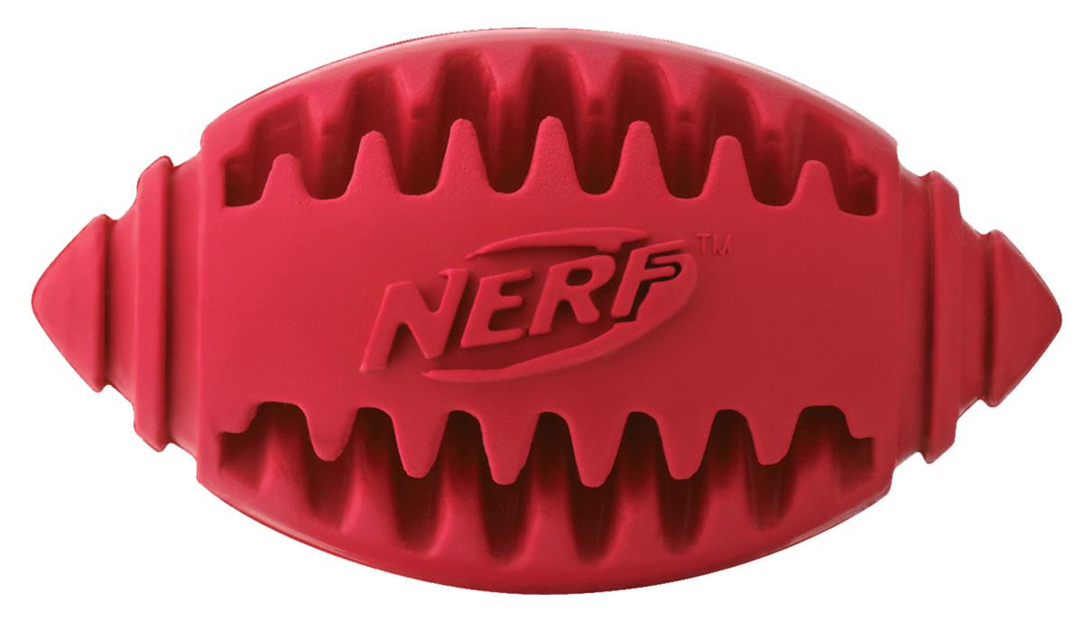 Игрушка для собак Nerf Мяч для регби, рифленый, цвет: красный, 8 см0120710Мяч-регби Nerf выполнен из сверхпрочной резины для удовлетворения жевательных инстинктов вашего питомца.Оптимален для игры с собакой дома и на свежем воздухе.Подходит собакам с самой мощной челюстью.Высококачественные прочные материалы, из которых изготовлена игрушка, обеспечивают долговечность использования.В выемки возможно поместить любимые лакомства вашего питомца для большей заинтересованности в игре и для усиления охотничьего инстинкта.Размер S: 8 см.