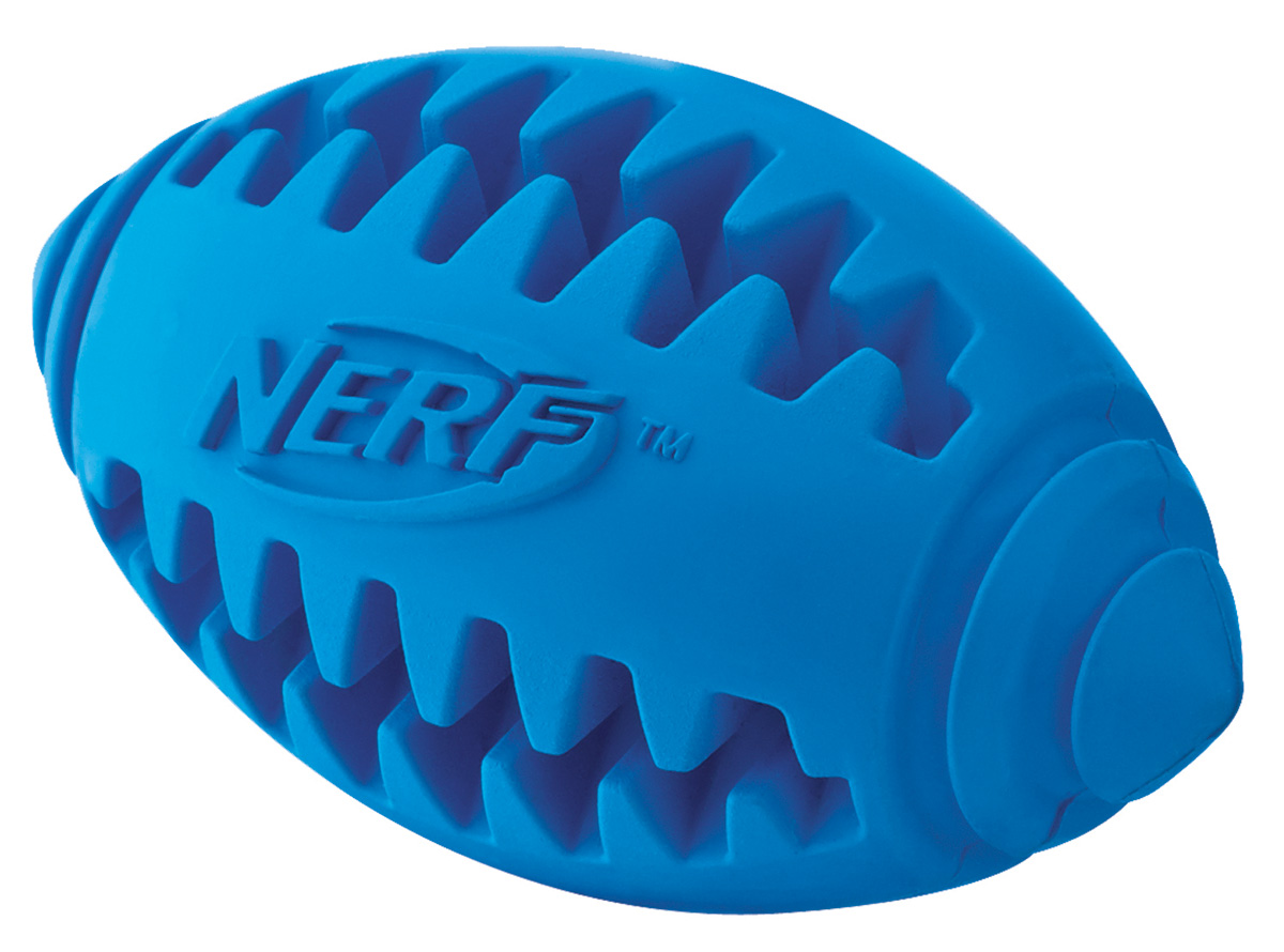 Игрушка для собак Nerf Мяч для регби, рифленый, цвет: голубой, 12,5 см12171996Мяч-регби Nerf выполнен из сверхпрочной резины для удовлетворения жевательных инстинктов вашего питомца.Оптимален для игры с собакой дома и на свежем воздухе.Подходит собакам с самой мощной челюстью.Высококачественные прочные материалы, из которых изготовлена игрушка, обеспечивают долговечность использования.В выемки возможно поместить любимые лакомства вашего питомца для большей заинтересованности в игре и для усиления охотничьего инстинкта.Яркие привлекательные цвета.Размер L: 12,5 см.