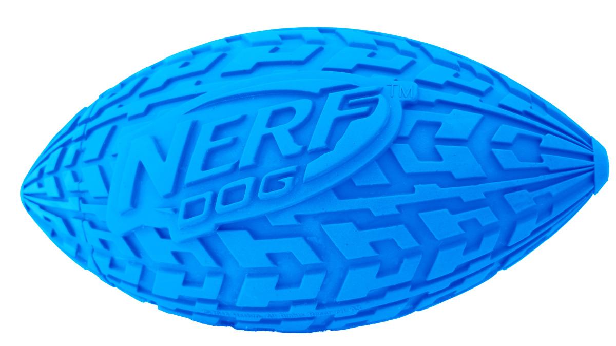 Мяч для собак Nerf Регби, с пищалкой, цвет: голубой, 15 см0120710Мяч-регби Nerf имеет уникальный рисунок протектора шины.Изготовлен из сверхпрочной резины, что обеспечивает долговечность использования. Подходит для собак с самой мощной челюстью. Оснащен пищалкой.Яркие привлекательные цвета.Размер M: 15 см.