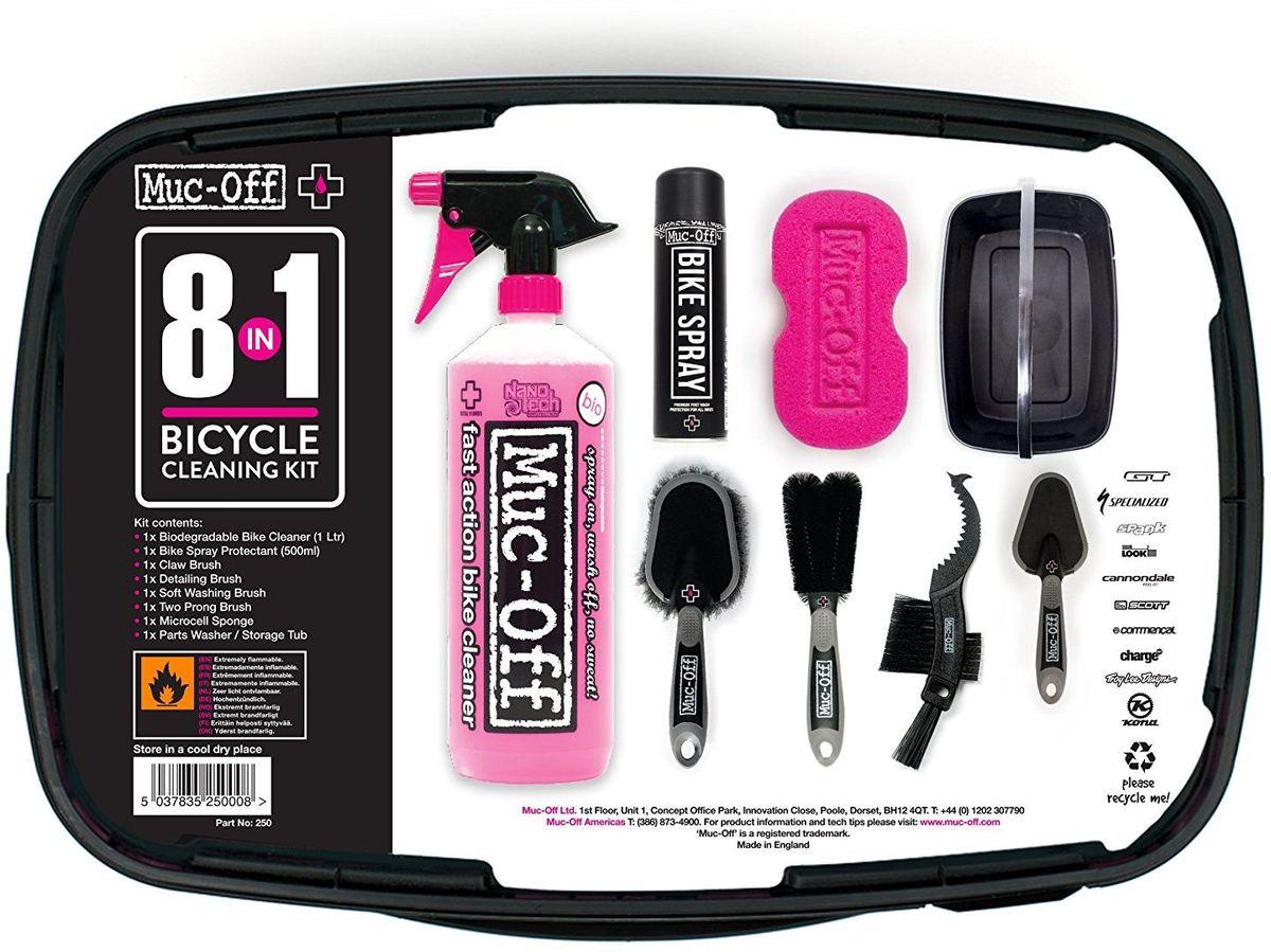 Набор Muc-Off Bike Cleaning Kit, 8 предметов2010137Набор Muc-Off 8-In-One Bike Cleaning Kit оснащен всем необходимым для поддержки вашего велосипеда в чистоте и порядке, поможет решить наиболее раздражающие проблемы в чистке. Подойдет для любого велосипеда и стиля, будь то шоссе, горный или городской велосипед. Такой комплект может стать отличным подарком. В комплект входят:-Очиститель Nano Tech Bike Cleaner-Аэрозоль Bike Spray-Губка-Щетка Soft Washing Brush, для общей мойки-Щетка Detail Brush, для мелких деталей-Щетка Claw Brush, для кассеты и цепи-Щетка Two Prong Brush, двухваликовая-Ведро.