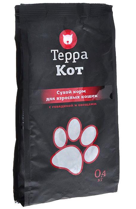 Сухой корм Терра Кот для взрослых кошек, с говядиной и овощами, 0,4 кг0120710Сухой корм Терра Кот - это полноценное сбалансированное питание для взрослых кошек, разработанное с использованием современных технологий.Сухой корм Терра Кот обеспечивает: крепкие кости и зубы; энергетический баланс; поддержку иммунитета; питание сердца; здоровую шерсть и кожу; витамины; отличное зрение; развитую мускулатуру; защиту ЖКТ. Характеристики:Состав: злаки, мясо и продукты животного происхождения (в т.ч. говяжья печень), пшеничные отруби, экстракт белка растительного происхождения, подсолнечное масло, овощи, минеральные добавки, пульпа сахарной свеклы (жом), витамины, пивные дрожжи, антиоксидант, таурин. Содержание питательных веществ: влажность 9%, протеин 27%, жир 10%, зола 7,5%, клетчатка 3%, кальций 1,3%, фосфор 1,2%. Витаминов: А 5000 МЕ/кг, D3 500 МЕ/кг, Е 30 МЕ/кг. Энергетическая ценность: 345 ккал/100 г. Вес: 0,4 кг. Артикул: 00-00000402.
