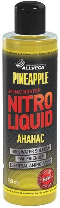 Ароматизатор жидкий Allvega Nitro Liquid. Pineapple, 250 мл0057674Жидкий ароматизатор Allvega Nitro Liquid. Pineapple применяется для ароматизации рыболовных прикормок и насадок. При добавлении в смесь значительно повышает ее привлекательность для рыбы. АроматизаторAllvega Nitro Liquid. Pineapple - это любимый рыболовами нежный фруктовый вкус. Эффективная добавка для ловли карпа и леща, особенно в теплой воде.Товар сертифицирован.Объем: 250 мл.