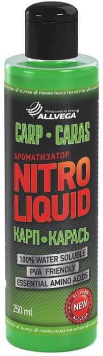 Ароматизатор жидкий для рыбалки ALLVEGA Nitro Liquid Carp Caras, карп, карась, 250 млMABLSEH10001Универсальный, ароматизированный комплекс для привлечения карпа и карася.