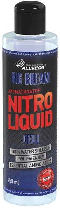 Ароматизатор жидкий Allvega Nitro Liquid. Big Bream, 250 мл0057676Жидкий ароматизатор Allvega Nitro Liquid. Big Bream применяется для ароматизации рыболовных прикормок и насадок. При добавлении в смесь значительно повышает ее привлекательность для рыбы. Ароматизатор имеет приятный запах печенья и карамели. Такое идеальное сочетание подходит для ловли крупного леща в различных условиях. Товар сертифицирован.Объем: 250 мл.