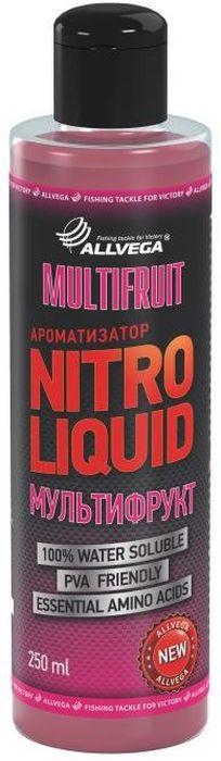 Ароматизатор жидкий Allvega Nitro Liquid. Multifruit, 250 мл002МКЖидкий ароматизатор Allvega Nitro Liquid. Multifruit применяется для ароматизации рыболовных прикормок и насадок. При добавлении в смесь значительно повышает ее привлекательность для рыбы. Ароматизатор характерный фруктовый вкус и незабываемый аромат, который активно привлекает всю белую рыбу. Товар сертифицирован.Объем: 250 мл.