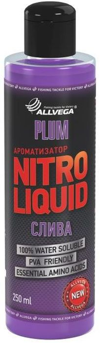 Ароматизатор жидкий Allvega Nitro Liquid. Plum, 250 млMW-1462-01-SR серебристыйЖидкий ароматизатор Allvega Nitro Liquid. Plum применяется для ароматизации рыболовных прикормок и насадок. При добавлении в смесь значительно повышает ее привлекательность для рыбы. АроматизаторAllvega Nitro Liquid. Plum - это любимый рыболовами нежный сливовый вкус. Эффективная добавка для ловли белой рыбы.Товар сертифицирован.Объем: 250 мл.