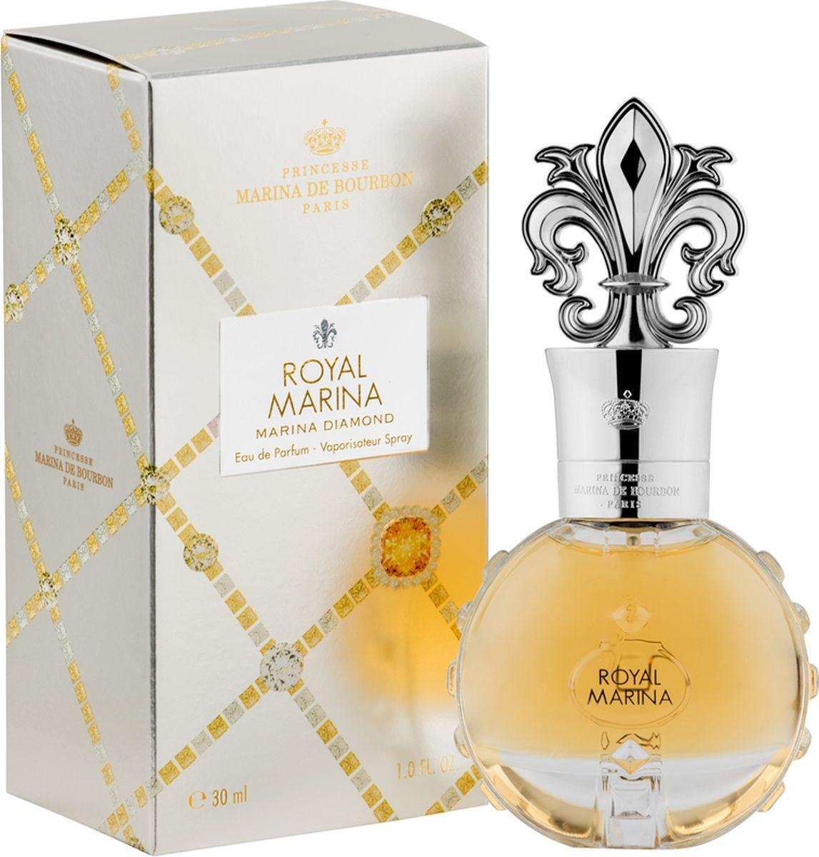Princesse Marina De Bourbon Paris Royal Marina - Marina Diamond Парфюмерная вода 30 мл4210201746348ФЛАКОН: Ценный и роскошный флакон инкрустирован драгоценными ограненными камнями. Блеск сверкающего алмаза усиливается впечатляющей крышкой в виде геральдической лилии и с подписью Royal Marina. Золотая, статусная упаковка, рельефно украшенная драгоценными камнями, хранит внутри настоящее сокровище. АРОМАТ: Oбволакивающий, чувственный и теплый Royal Marina Diamond - это захватывающий аромат для гламурной и блистательной женщины, которая стремится произвести незабываемое впечатление и продемонстрировать свой страстный темперамент. Это чувственный и страстный парфюм; радостная сочность Брусники выделяет аромат лепестков Ириса и Жасмина. Изысканные цветочные ноты в центре окутаны экзотической чувственностью дерева Copaiba, в то же время прикосновение ванили и плодов мускуса подчеркивает остроту этого аромата. Oлнечный золотисто-янтарный оттенок просматривается сквозь изящное стекло, околдовывая видом сладкого нектара.