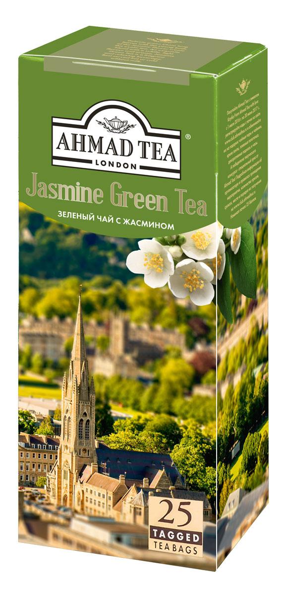 Ahmad Tea зеленый чай с жасмином в пакетиках, 25 шт0120710Деликатный купаж китайского длиннолистового чая с бутонами и цветами жасмина. При заваривании дает настой золотисто-зеленого цвета со сладким вкусом и ароматом жасмина, и тонким ореховым послевкусием.
