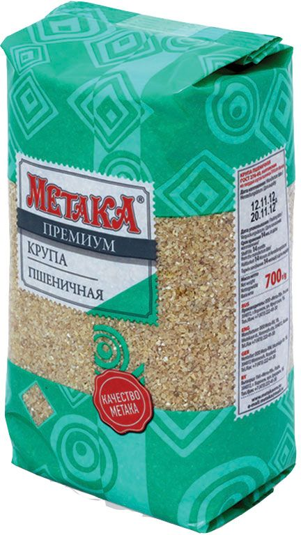 Метака крупа пшеничная, 700 г0120710Пшеничная крупа представляет собой один из самых лучших натуральных источников энергии, а также оказывает общеукрепляющее воздействие на организм. К достоинствам и преимуществам пшеничной крупы Метака относится способность укреплять иммунную систему, восполнять недостаток витаминов и минералов, а также нормализовать кислотно-щелочной баланс в организме. Пшеничную кашу Метака любят взрослые и дети за ее нежный вкус и аппетитный аромат. Пшеничная крупа великолепно сочетается как с овощами, так и с мясными блюдами.